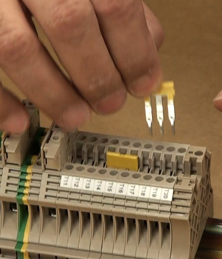 Plugging in Weidmuller ZQV Terminal Block Jumpers